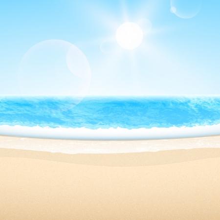 sol caricatura: Vector arena mar playa verano relajarse establecer