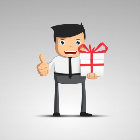 Cartoon man in a suit holding a gift  Vector character  Vector
