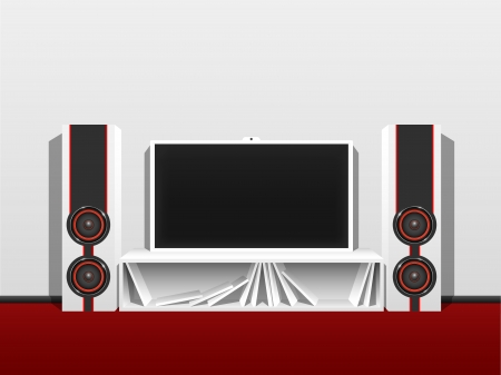 Modern home theater from a flat TV and music speakers, in a clean, bright room  Vector