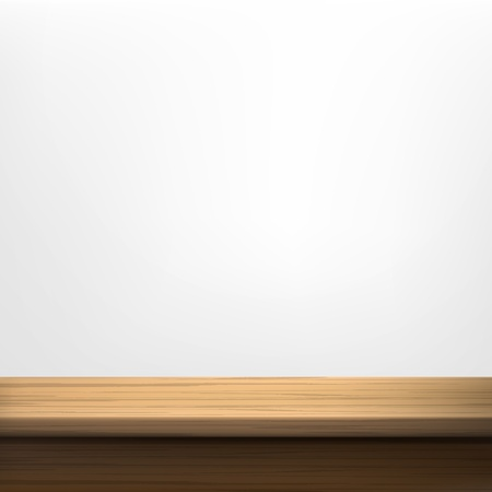table decoration: White wall background with wooden table