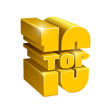 Vector 3d top 10 golden letter  Vector