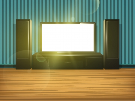 Home cinema in the room with blue striped wallpaper and wooden floor  Vector