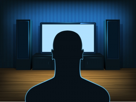 Man watching tv in the blue room  Vector