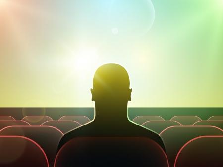 Silhouet van de mens kijken naar film op groot scherm in de bioscoop
