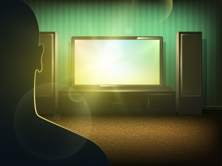 Man silhouette watching tv in the room  Vector