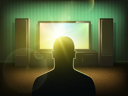 ver tv: Silueta del hombre viendo la televisi?n la sala de Vectores