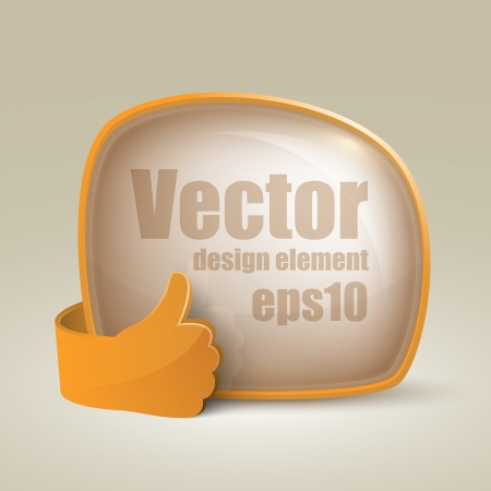 Vector Isolated empty bubble speech and glass hand