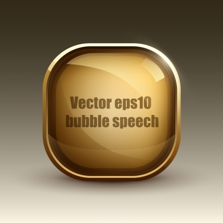Glossy glass shiny web element  Golden Web button  Illustration