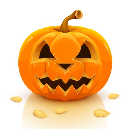 3d image: Halloween pumpkin isolated on white background