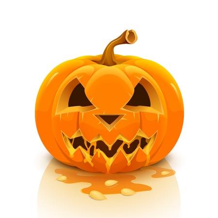 scary pumpkin: Halloween pumpkin isolated on white background