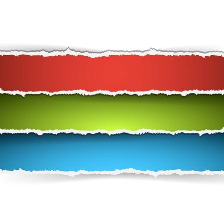 Vector colorido conjunto de banner de papel rasgado