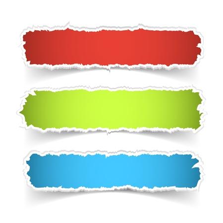 Vector colorful torn paper banner set