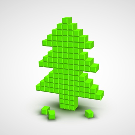 Green vector christmas tree in the style of pixel art