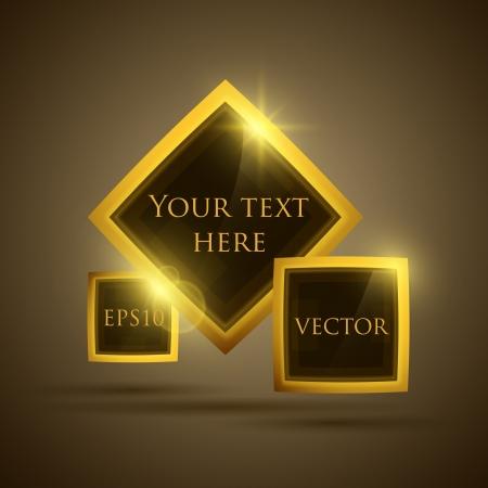 Glossy glass shiny bubble speech  Vector golden web button set