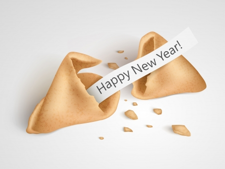 cookies: Vector realistic cracked fortune cookie with place on paper for your text