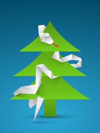 snake origami: Paper vector green christmas tree with white origami snake on blue background  Illustration