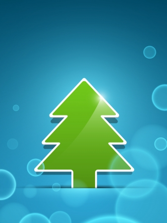 Paper vector green christmas tree sticking out of the divider on blue paper background with lens flare effect  Illustration
