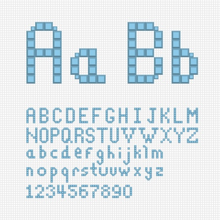 Vector alphabet set in pixel art style  Vector