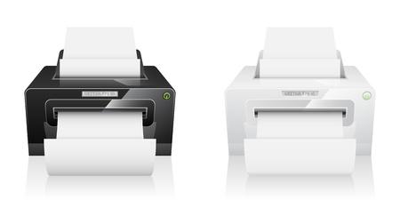 laser printer: Realistic vector two printer, white and black model