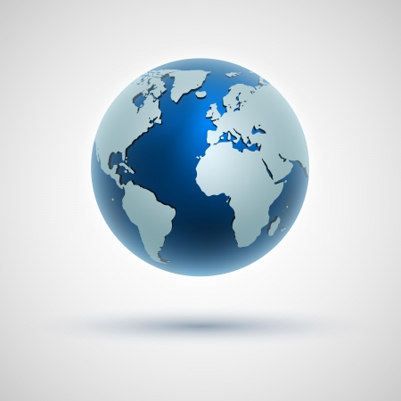 globe earth: Vector globe icon of the world