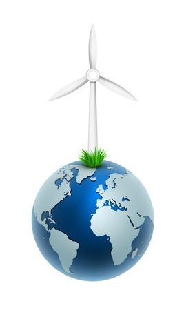 windfarm: Illustrazione vettoriale di un generatore eolico sulla parte globo del mondo del set energia libera Vettoriali