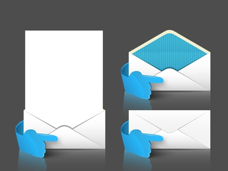 directive: Vector post envelope and letter set with 3d blue glass hand  Web signs element
