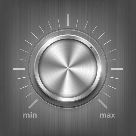 金属の質感と現実的なベクトルのボリューム ボタン