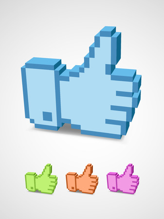 Thumb up icon in the style of pixel art  Illustration