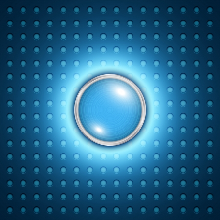 glass button: Vector abstract blue glass bubble