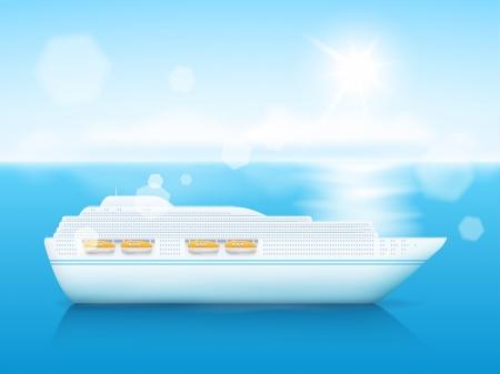 cruise cartoon: Cruise ship in sea  Summer relax set  Illustration