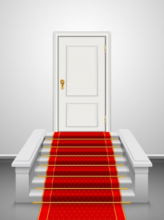 Vector stairs with red velvet carpet and wooden white door  Vector