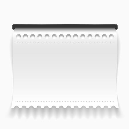slit: Blanco rizado cheque de papel saliendo de hendidura
