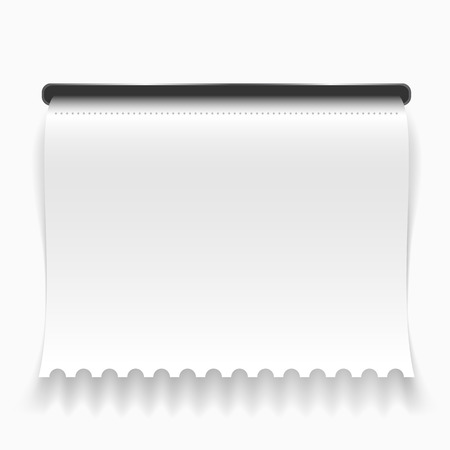 slit: White curled paper check going out from slit