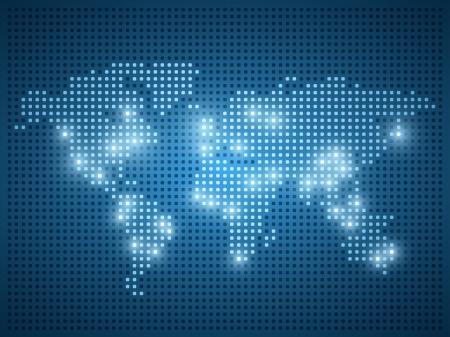 青色の背景に世界地図ドット イラスト