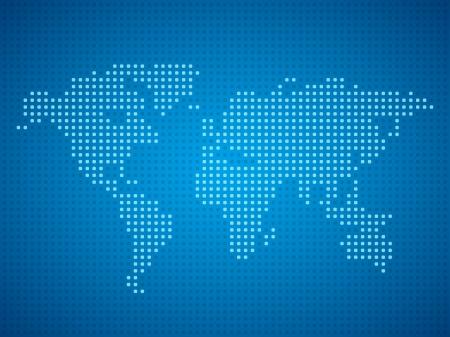 World map dot illustration on blue background