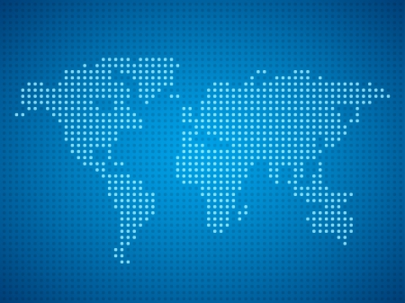 World map dot illustration on blue background