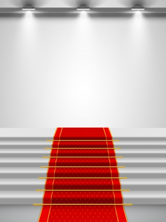 Stairs covered with red carpet with a spotlight  Vector