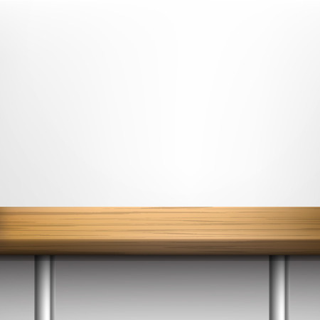 metal legs: White wall background with wooden table on metal legs  Vector set