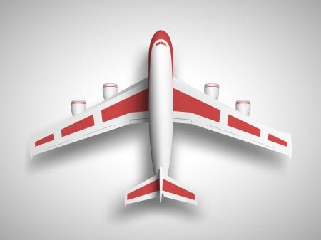 벡터 빨간색 비행기 평면도