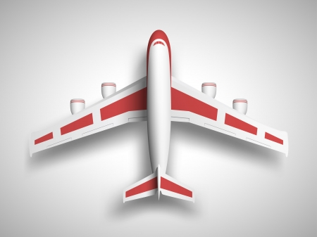 Vector red airplane top view