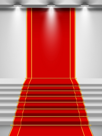 Stairs covered with red carpet with a spotlight