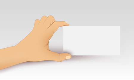 Vector hand holds a white blank card  Vector