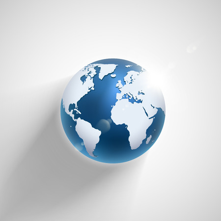 blue earth: Vector globe icon of the world