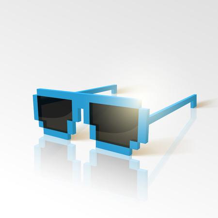Vector sunglasses in pixel style