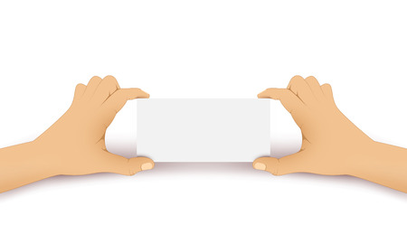 Vector hand holds a white blank card