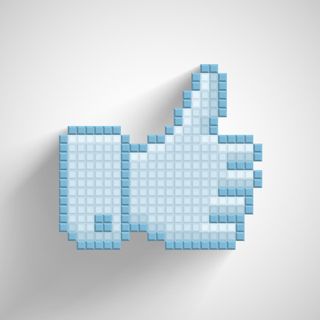Thumb up icon in the style of pixel art  Vector