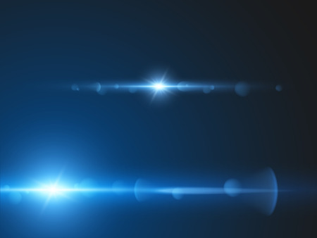 Element blue light with lens effect  Vector