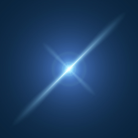 Set of Vector glowing light with lens effect in stars form