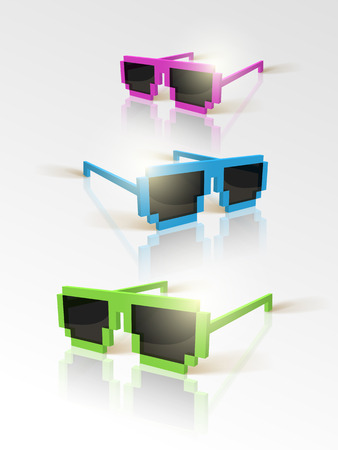 sunglasses in pixel style.