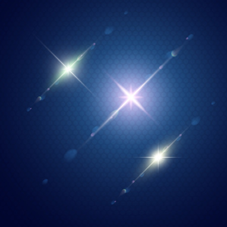 Set of Vector glowing light with lens effect in stars form  Vector